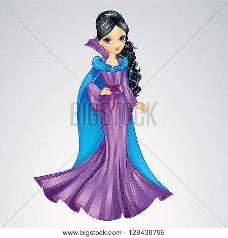 Vector illustration of fashion brunette snow queen in purple dress and mantle