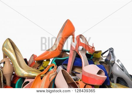 Multicolored shoes on a white background