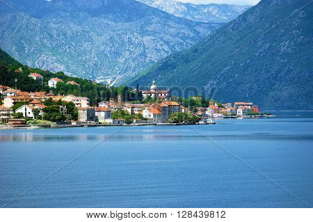 View of the small town Prcanj in Boka Bay (Montenegro) to the opposite shore