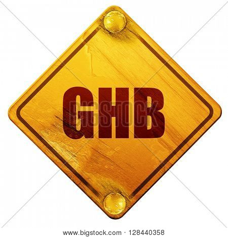 ghb, 3D rendering, isolated grunge yellow road sign