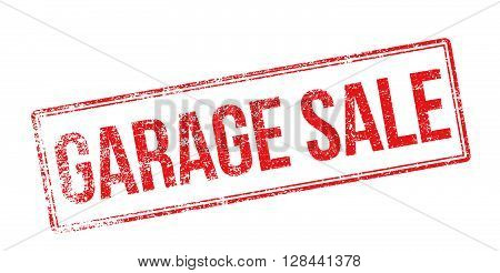 Garage Sale Red Rubber Stamp On White