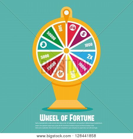 Wheel Of Fortune. Flat icon vector illustration isolated on background
