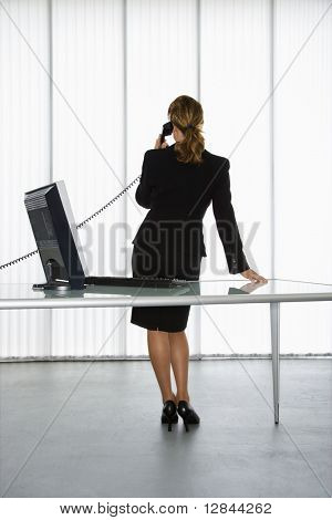 Back view of Caucasian businesswoman standing at computer desk on telephone.