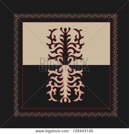 Asian ornaments collection. Historically ornamental of nomadic people. It based on real Kazakh art of felt and wool carpet. Mirror-symmetric illustrations. Region Of Shymkent