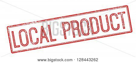 Local Product Red Rubber Stamp On White
