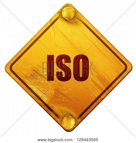 iso, 3D rendering, isolated grunge yellow road sign