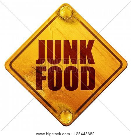 junk food, 3D rendering, isolated grunge yellow road sign