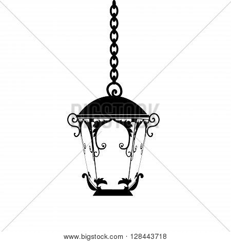 street light silhouette on white background vintage