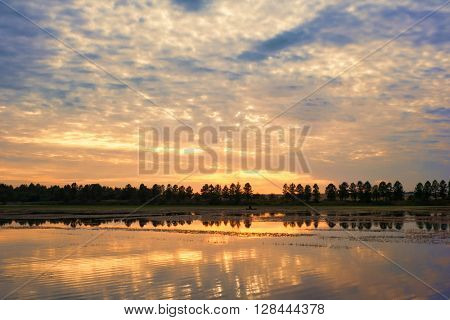 Landscape with sunset over water