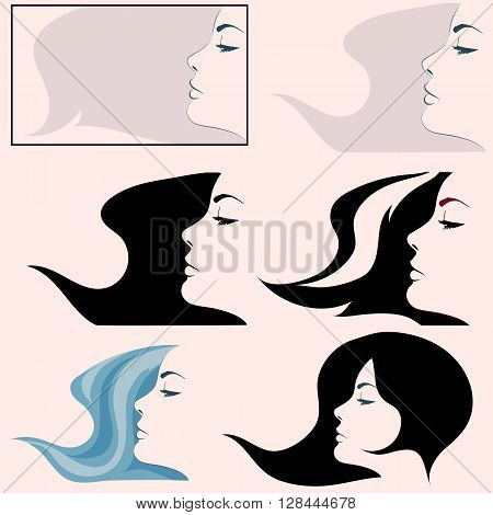 Woman profile simple vector. Black and white girl profile face. Isolated girl profile set.
