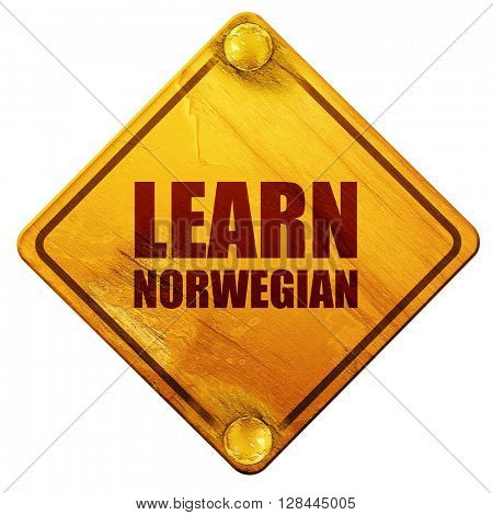 learn norwegian, 3D rendering, isolated grunge yellow road sign