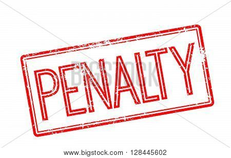 Penalty Red Rubber Stamp On White