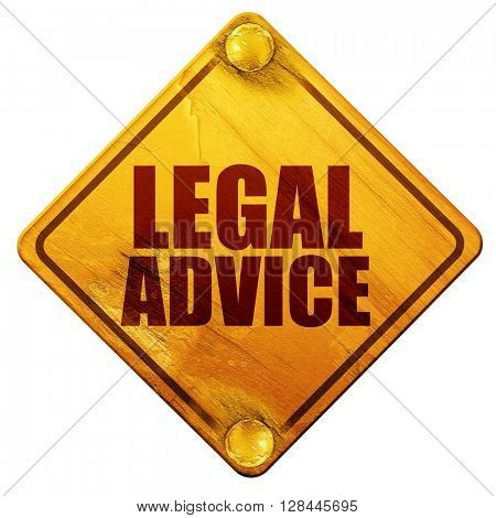 legal advice, 3D rendering, isolated grunge yellow road sign