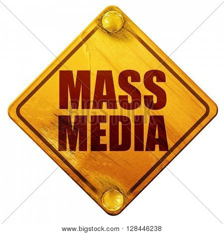 mass media, 3D rendering, isolated grunge yellow road sign