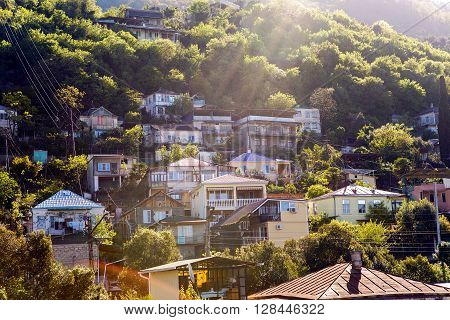 Gagra, Abkhazia - April 23 : sunrise in the mountain village in Gagra, Abkhazia April 23, 2016
