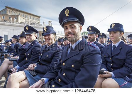 Rome Italy - April 30 2016: Cadets of police school in St. Peter's Square on the occasion of the day dedicated to the jubilee of the military family and the police.