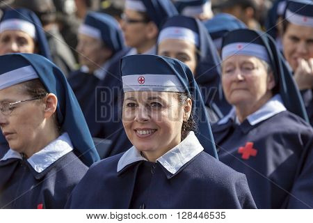 Rome Italy - April 30 2016: Women of the red-cross volunteers deployed in St. Peter's Square on the occasion of the day dedicated to the jubilee of the military family and the police.