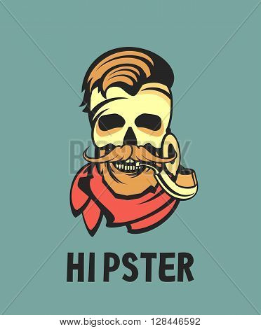 vector work hipster portrait of a man with a pipe in retro colors