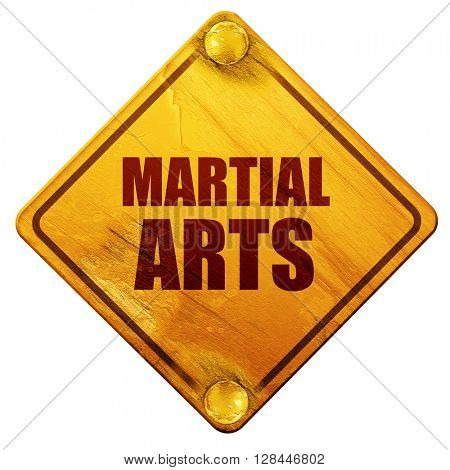 martial arts, 3D rendering, isolated grunge yellow road sign