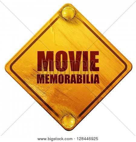 movie memorabilia, 3D rendering, isolated grunge yellow road sign