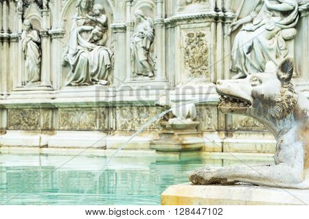 The Fonte Gaia is a monumental fountain located in the Piazza del Campo in the center of Siena (Tuscany Italy). Focused on the head of the animal.