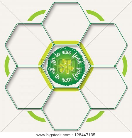 Set of seven hexagons for your text and raw food icon
