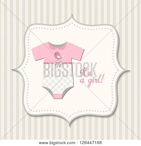 It's a girl, baby shower, card with pink baby bodysuit, vector  illustration, eps 10 with transparency
