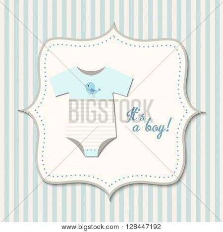 It's a boy, baby shower, card with blue baby bodysuit, vector  illustration, eps 10 with transparency