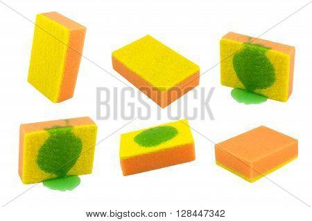 orange sponge for washing dishes. Isolated on white