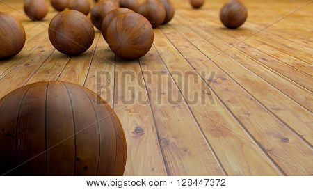 Fantasy realistic wood balls on a realistic wood floor floor. Depth of field settings. 3D rendering.