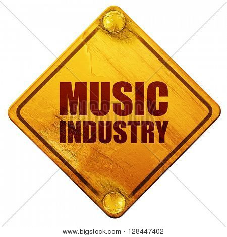 music industry, 3D rendering, isolated grunge yellow road sign