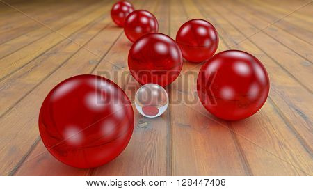 Fantasy transparent and colored realistic glass balls on a realistic wood floor floor. Depth of field settings. 3D rendering.