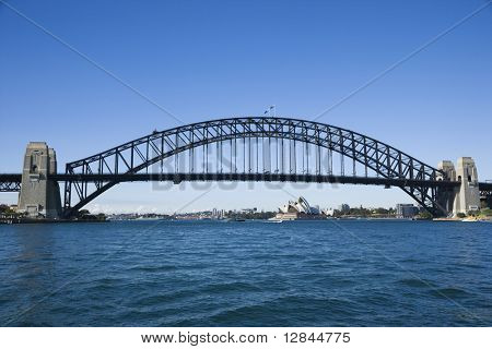 Sydney Harbour Bridge with view of  Sydney Opera House in Australia.