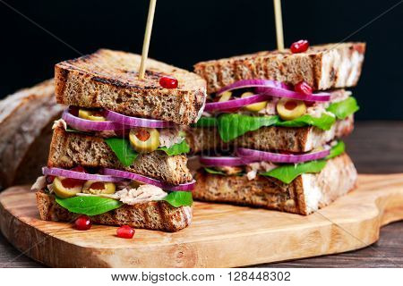 Grilled Tuna Sandwich on plate with onion, olives and pomegranate