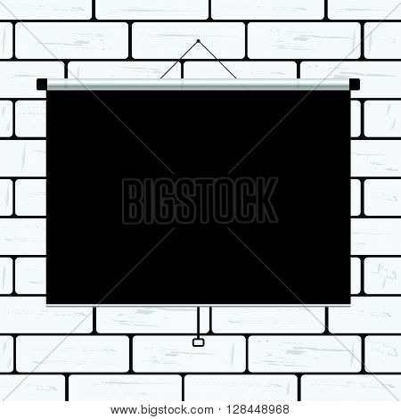 projector screen on brick art wall illustration
