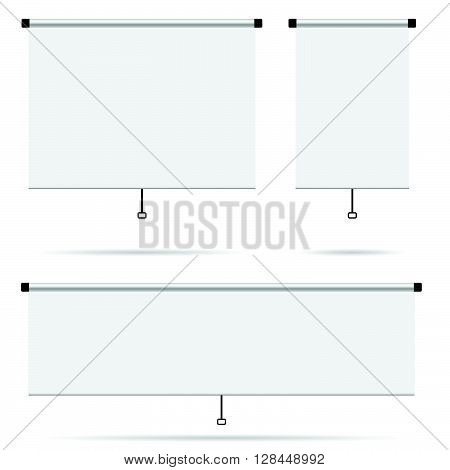 projector screen set blank illustration on white