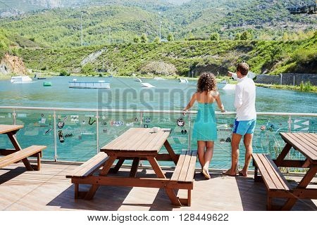 KARGICAK, TURKEY - AUG 17, 2015: Couple (with model releases) at Gold Cable Park in Goldcity Tourism Complex. It is located 8 kilometers from Alanya.