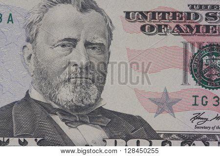 portrait of the American president Grant on dollar bills close-up