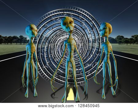Aliens on country road standing before portal 3D Render