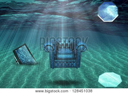Submerged Living Room 3D Render