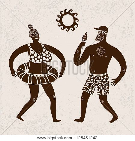 Sea cartoon illustration with man and woman wearing beachwear. Summertime illustration with textured background.