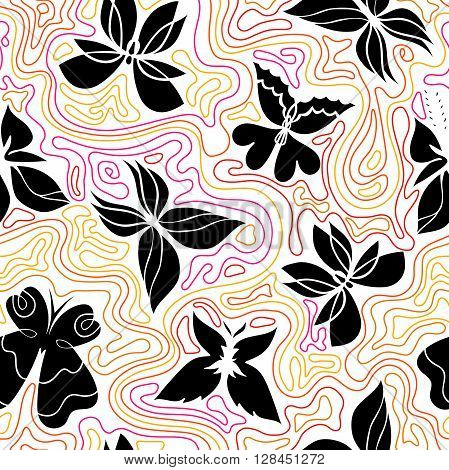 Butterfly seamless pattern colorful background with black butterflies and curly lines butterflies vector Eps 8