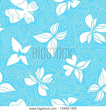 Vector hand-drawn seamless pattern with butterflies and waves blue background with butterflies and wavy lines can be used for design fabric wrapping paper wallpaper EPS 8