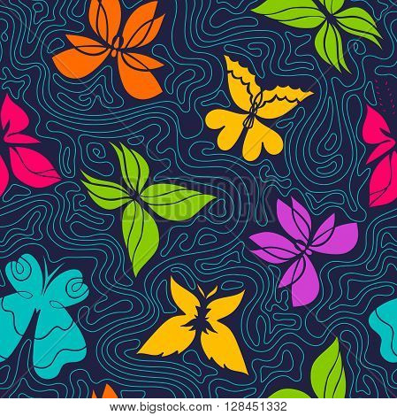 Butterfly seamless pattern bright background with color butterflies and blue curly lines butterflies vector Eps 8