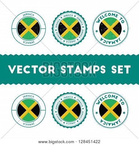 Jamaican Flag Rubber Stamps Set. National Flags Grunge Stamps. Country Round Badges Collection.