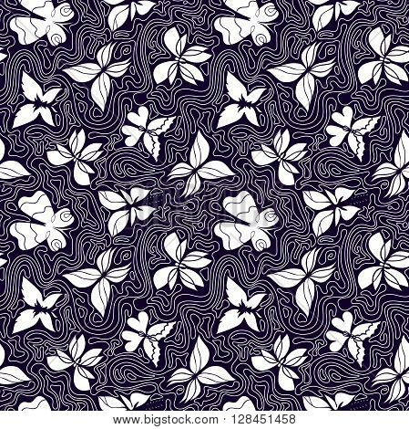 Butterfly seamless pattern black and white background with butterflies and curly lines butterflies vector Eps 8
