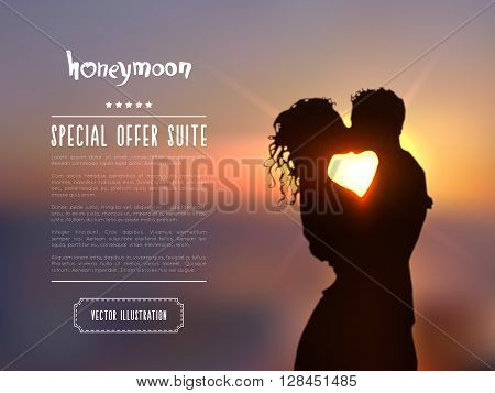 Summer poster with a kissing couple silhouette against a blue sunset seascape blurred background. Realistic vector illustration.