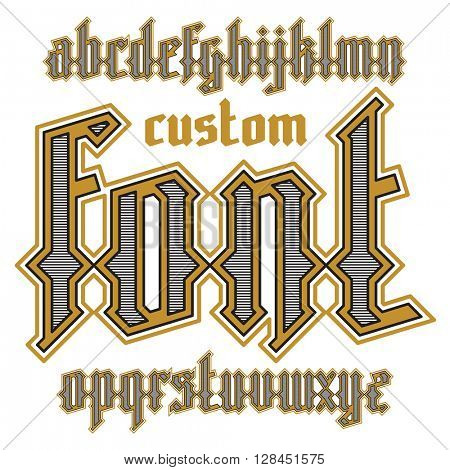 Custom gothic alphabet font. Vector gold decorative typeface