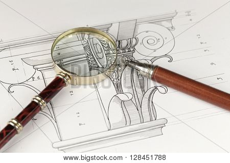 magnifying glass, mechanical pencil & architectural drawing - detail column