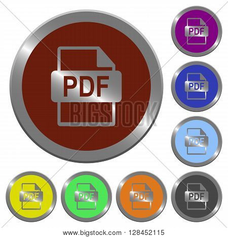 Set of color glossy coin-like PDF file format buttons.